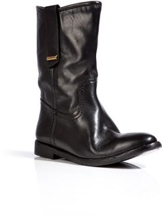 BURBERRY Leather Dunbar Half Boots in Black - Lyst