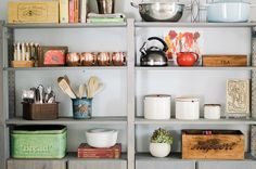 www.withoutinstructions.com  IKEA Ivar for kitchen storage. Open shelving in the kitchen