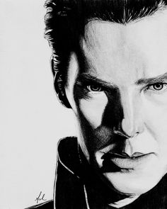 Pencil drawing of Star Trek character John Harrison aka Khan played by Benedict Cumberbatch ~ by Ashlie Lund---:D ♥