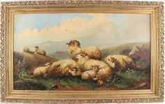 """Sale Lot 529 John W Morris (British, Sheep resting with their lambs signed and dated lower right """"J W Morris oil on canvas cm - Cheffins Sheep And Lamb, Lambs, Art For Sale, Painting & Drawing, Oil On Canvas, Fine Art, Country, Antiques, Drawings"""