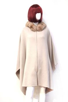 cashmere hooded cape coats | LORO PIANA GREY CASHMERE CAPE W/ SABLE FUR HOOD AND BELT at 1stdibs