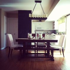 My kitchen/dining area - Lowe's Portfolio chandelier, World Market Verona Table with bench/chairs, Ikea parson's chairs.