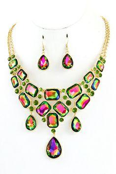 HAVANNA NECKLACE- Acrylic stone teardrop dangle necklace set