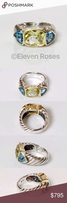 David Yurman Lemon Citrine Blue Topaz Mosaic Ring David Yurman Three Stone Lemon Citrine & Blue Topaz Mosaic Renaissance Ring - 925 Sterling Silver & 750 18k Yellow Gold - Lemon Citrine & Blue Topaz Gemstones - US Size 7 - Preowned / Preloved   May Show Slight Signs Of Having Been Worn.     Listing Images Are Of Actual Item Being Offered David Yurman Jewelry Rings