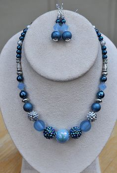 Shades of blue necklace and earring set by JewelryArtByGail