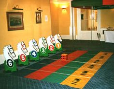 Giant Horse Race Game- Horse Race – A game for 6 people. 6 wooden horses & giant foam dice. Try and be the first horse past the winning post!