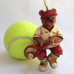 Tennis Bear Backhand Ornament