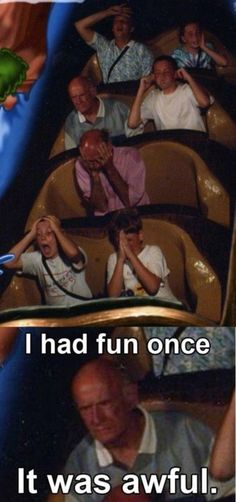 I never knew it was possible to keep a straight face while riding a roller coaster....