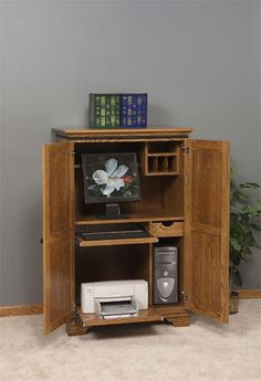 harvest mill collection computer armoire in abbey oak computer armoire and armoires
