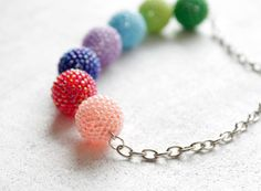 Bright Multicolored Summer Necklace Peach Pink Raspberry Red Cobalt Blue Lilac Light Blue Green