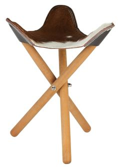 Cowhide and Leather Seat - Folding Stool on Timber legs, , Home Decor - 1
