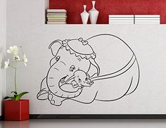Dumbo Elephant Wall Vinyl Decal Disney Cartoon Flying Elephant Vinyl Sticker Home Nursery Interior Kids Baby Room Art Decor Mural Removable Vinyl Sticker 21me * Continue to the product at the image link-affiliate link.
