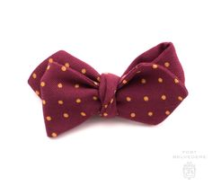 3c04e92a6e85 Wool Challis Bow Tie in Red with Yellow Polka Dots & Pointed Ends - Fort  Belvedere