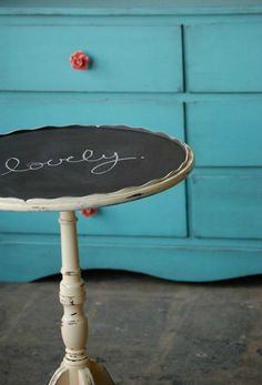 Chalk It Up-table style. Try Love the Occasion's mint, watermelon or sunset chalkboard paint. $29.95 per paint kit. Visit http://www.lovetheoccasion.com.au/shop/decorations-kids/watermelon-chalkboard-paint-kit/