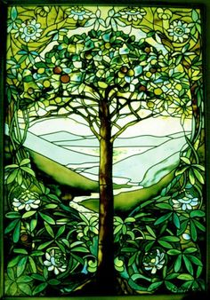 Tiffany Tree of Life stained glass panel is adapted from the window designed by Agnes Northrop