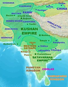 Imperio Kushan Ancient Indian History, History Of India, Hindu Kush, Geography Map, Geography Activities, Indus Valley Civilization, India Map, Gernal Knowledge, Facts For Kids