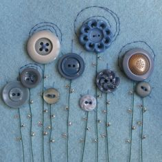 "A lovely bit of textile art ""blooming buttons"" by Amanda Meaden @ Folksy"