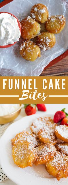 Funnel Cake Bites Recipe Funnel Cake funnel cake nutrition information Yummy Treats, Delicious Desserts, Sweet Treats, Yummy Food, Funnel Cake Bites, Funnel Cakes Recipe, Cake Recipes, Dessert Recipes, Cooking Recipes