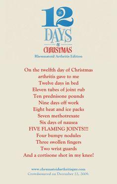 "12 Days of Christmas - it says ""Rheumatoid Arthritis Edition"" but Psoriatic Arthritis fits too. = )"