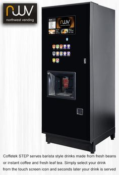 Coffetek Step, one of the best bean to cup, instant coffee and fresh leaft tea vending machines on the market. It is simple to use, produces great drinks and looks great.