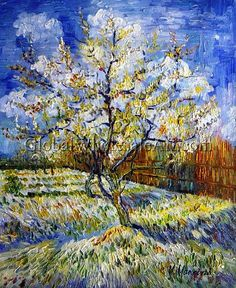 """Peach Trees In Blossom"" by Vincent Van Gogh. Oil painting from Global Wholesale Art. To shop this painting click here: http://globalwholesaleart.com/peach-trees-in-blossom-p-17894.html"