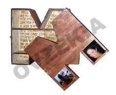 Caja en forma de letra con portarretratos