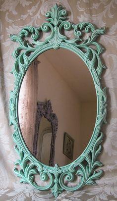 Large Vintage French Oval Wall Mirror Shabby Aqua Hollywood Regency Turner Victorian. $145.00, via Etsy.