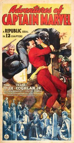 The Adventures of Captain Marvel (Shazam, the original Cap Marvel) Marvel Movie Posters, Cinema Posters, Marvel Movies, Film Posters, Poster Frames, Original Captain Marvel, Captain Marvel Shazam, Broderick Crawford, Lon Chaney Jr
