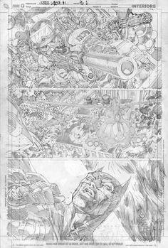 Justice League, Page 1 Pencils by Jim Lee: