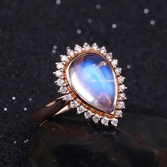 Moonstone Engagement Ring by MissIrisJewelry on Etsy