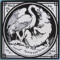 Chic Victorian aesthetic movement transfer tile in black printed on a white clay body from the Aesop's Fables series by Mintons China Works. The designs for this series are attributed to Thomas Allen....
