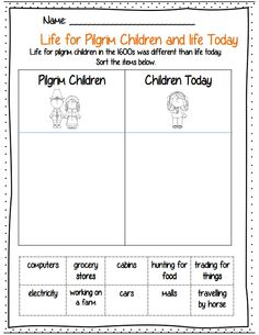 Comparing the life of pilgrim children and children today. Part of a 23 page packet for 2nd graders for Thanksgiving! Common core aligned