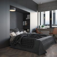 Using Muted Colours and Shapes As Scandi Style Decor Bedroom Closet Design, Boys Bedroom Decor, Bedroom Furniture Design, Modern Bedroom Design, Room Ideas Bedroom, Bedroom Bed, Master Bedroom, Bedrooms, Futuristisches Design