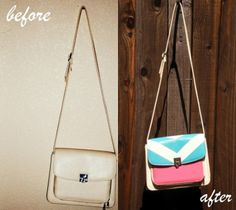 If you want to have a fresh looking bag but don't want to sew one from scratch, why not just decorate a plain one?