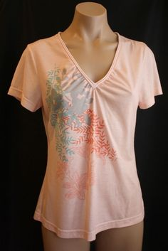768e9483095 Peach Color V neck Riders Short Sleeve Top Graphic Nature Print Size Small   Riders