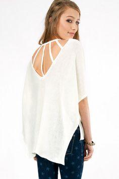 Webbed Back Sweater $43 at www.tobi.com