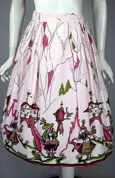 1950s skirt novelty print cotton pink Bavarian Austrian alpine couple from Viva Vintage Clothing (SOLD)