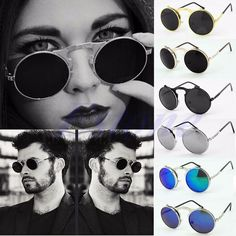 NEW Men Women Vintage Round Metal Frame Flip Up Sunglasses Glasses Eyewear Lens #Unbranded #Round