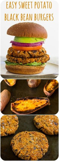 Easy Sweet Potato Black Bean Burgers: Smoky and sweet, only 7 ingredients! GF option, vegan, oil free.
