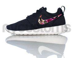 Nike Roshe Courir Bouquet Floral Blanc Noir Imprimer Des Étiquettes Personnalisées