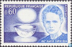 Marie Curie - - Marie Curie is renowned for her work on radioactivity. She was the first woman to win a Nobel Prize, and is still the only woman to have won two Nobel prizes in two separate categories! Marie Curie, World Stroke Day, French History, American History, Nobel Prize Winners, Number Stamps, Stamp Catalogue, First Day Covers, Love Stamps