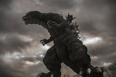 Image of the X-Plus Gigantic GMK against a stormy sky sweetened in Photoshop. Godzilla Toys, Japanese Monster, King Kong, Vinyl Figures, Dinosaur Stuffed Animal, Lion Sculpture, Illustration Art, Dragon's Lair, Photoshop