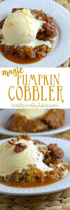 Easy Pumpkin Cobbler Recipe Recipe for incredible Pumpin Cobbler that makes its own caramel cinnamon sauce as it bakes. A perfect fall dessert for pumpkin lovers! Brownie Desserts, Just Desserts, Delicious Desserts, Dessert Recipes, Yummy Food, Recipes Dinner, Vegan Desserts, Dinner Ideas, Flourless Desserts
