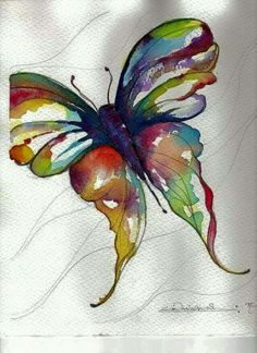 Rainbow Butterfly - original watercolor painting. Colorful nature wall art. Unusual birthday present. Contemporary art. Watercolour picture. by AlisaAdamsoneArt on Etsy www.etsy.com/...