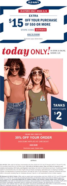 Old Navy 🆓 Coupons & Shopping Deals! Old Navy Coupon, Couponing 101, Cosmetic Treatments, Restaurant Offers, Shopping Coupons, Plastic Surgery, Tanks, Shop Now, March