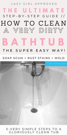 Is your bathtub dirty and in need of some serious cleaning hacks and tips? Discover how t clean your dirty bathtub, remove soap scum, mold stains and even hard water spots to reveal a beautifully white tub. Without breaking a sweat! Bathroom Cleaning Hacks, Household Cleaning Tips, Cleaning Wipes, Cleaning A Bathtub, Cleaning Checklist, Remove Rust Stains, Mildew Stains, Dark Stains, Hard Water Spots
