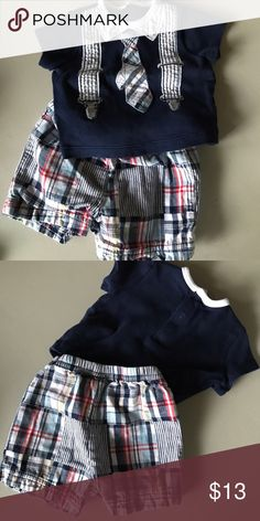 Little me boy's 0-3 outfit with tie detail Plaid blue and red Little Me baby boy's outfit with matching short sleeve shirt and shorts set. Tie sewn on detail and suspenders and collar. So cute for getting back to church in the summer with your newest addition. This brand is great quality, washes well and fits great! Little Me Matching Sets