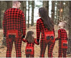 loomrack Funny Matching Family Christmas Pajamas - Buffalo Plaid Bear Cheeks Onesies for Families or Couples Christmas Accessories
