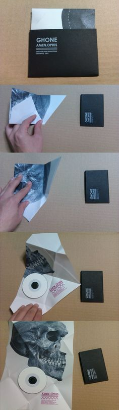 DIY packaging for 3inch CDr release of Ghone (experimental/drone music artist). steaming/purchasing link: http://ghone.bandcamp.com/album/amen-ophis