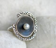 Egg in the Nest sterling silver Fresh Water Pearl Ring